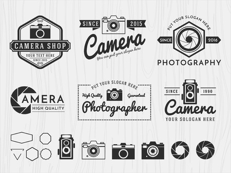 grapnel: Set of vintage modern insignia  camera and photography design, monochrome emblem, banner, insignia,  badge and symbol icons for photographer, camera shop decorative collection