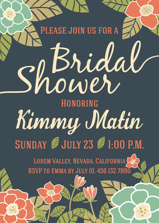 Bridal Shower Invitation Card Template With Vintage Floral Design