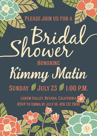 Bridal Shower Template Met Vintage Floral Design uitnodigingskaart