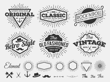 insignias: Estrella de la vendimia estalló logotipo insignias para el diseño del logotipo, emblema, la pantalla de la camiseta y de impresión con explosión de la estrella, flecha, tijeras, hacha, ancla, cinta, sombrero, florece línea