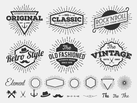 scissors: Vintage star burst insignia logotype for logo design, emblem, t-shirt screen and printing with star burst, arrow, scissors, ax, anchor, ribbon, hat, flourishes line Illustration