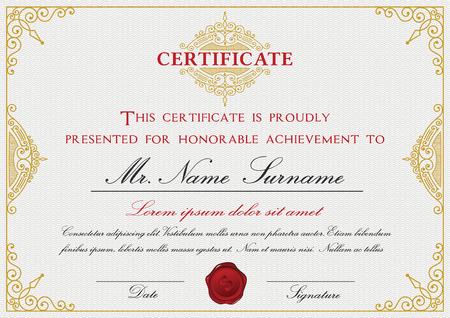 certificado: Dise�o de la plantilla de certificado con el emblema, florezca la frontera en el fondo blanco tama�o A4 Bleed