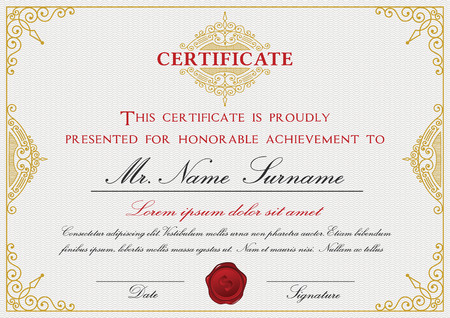 Certificate template design with emblem, flourish border on white background  A4 size Bleed
