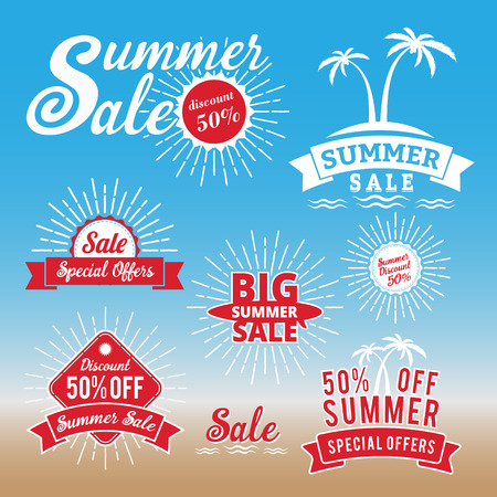 de zomer: Set van de zomer verkoop promotie badgelogo ontwerp, retro badge ontwerp voor het logo, banner, markering, insignes, embleem, etiket element, reclame Stock Illustratie