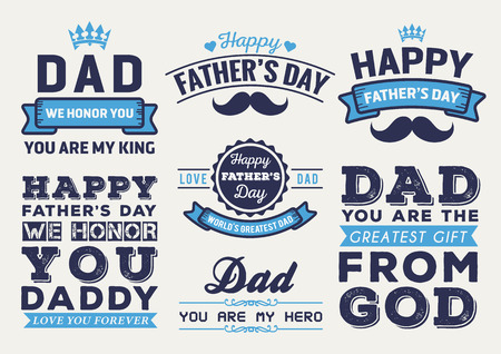 happy fathers day card: Happy Fathers Day Badge Logo Vector Element Set In Retro Blue Tone Illustration