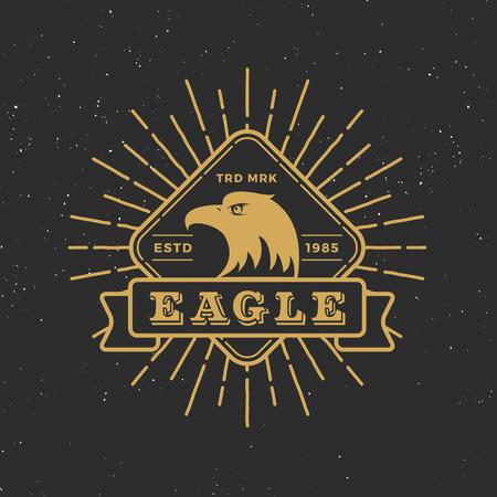 Retro badge logo eagle design with retro sunburst and ribbon for tag, logotype, emblem, banner, Insignia, T-shirt Screen, Stamp. Vector illustration.