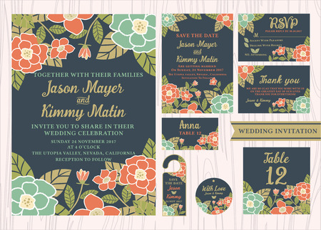 respond: Tropical flower wedding invitation vintage design sets include Invitation card, Save the date, RSVP card, Thank you card, Table number, Gift tags, Place cards, Respond card, Save the date door hanger