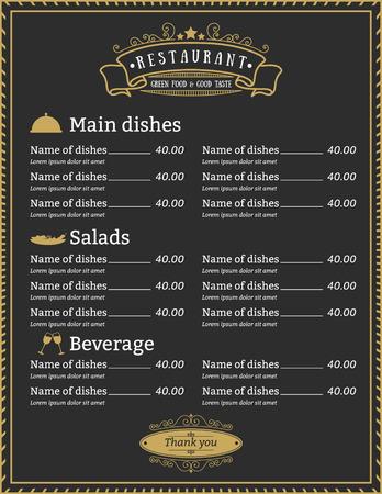 Elegant Restaurant menu template design with gold border and classic label vintage retro style