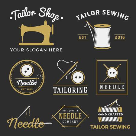maquinas de coser: Conjunto de la vendimia insignia emblema sastrer�a, etiquetas, escudos elementos de dise�o. Monocromo colecci�n logotipo de la plantilla taller de costura. Ilustraci�n vectorial Vectores