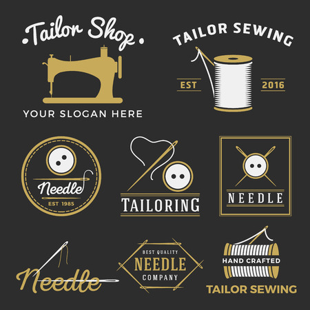 sew: Set of vintage tailor shop emblem logo, labels, badges design elements. Monochrome sewing shop logo template collection. Vector illustration