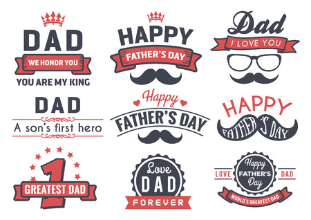 father: Happy Fathers Day Badge Logo Vector Element Set In Retro Red and Black Tone