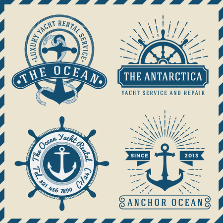similar images: Save to a lightbox  Find Similar Images  Share Stock Vector Illustration: Nautical, Navigational, Seafaring and Marine insignia logotype vintage design with anchor, rope, steering wheel, star burst, sunburst  Only Free Font Used, Vector illustration