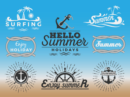 nautical vessel: Modern retro insignia for summer holidays and nautical vector design  Enjoy summer  Hello Summer  Summer Travel Decoration Illustration