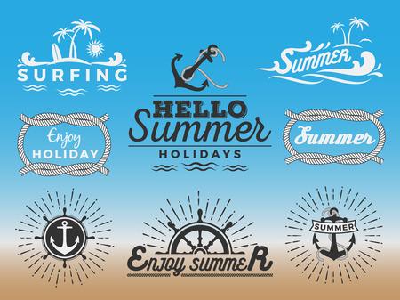 Modern retro insignia for summer holidays and nautical vector design  Enjoy summer  Hello Summer  Summer Travel Decoration Illustration