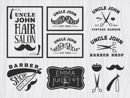 razor: Vintage monochrome barber shop logo, labels, badges, banner, emblem, insignia, poster and design element Illustration