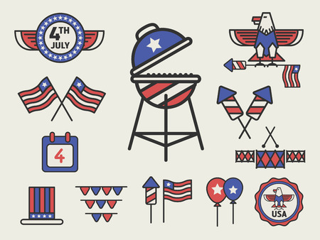 with sets of elements: AMERICAN CELEBRATION DAY ICON SIGN PARTY DECORATION SETS, Independence day, 4 of July, Labor day icon elements