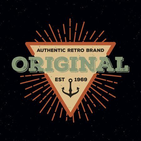 established: Vintage star burst badge logo triangle design with retro color, For logo, label, emblem, banner, sticker, Insignia, T-shirt screen and printing