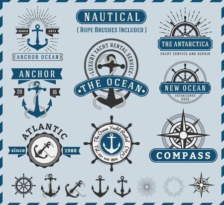 Nautical, Navigational, Seafaring and Marine insignia logotype vintage design with anchor, rope, steering wheel, starburst, sunburst element  Only Free Font Used, Vector illustration Ilustracja