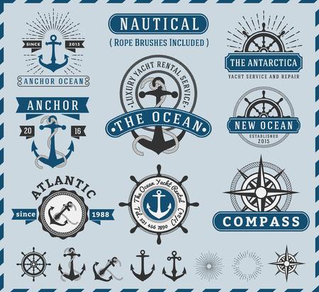 Zeevaart, navigatie, zeevaart en Marine insigne logo vintage design met anker, touw, stuurwiel, starburst, zonnestraal element Alleen gratis lettertype gebruikt, Vector illustratie Stock Illustratie