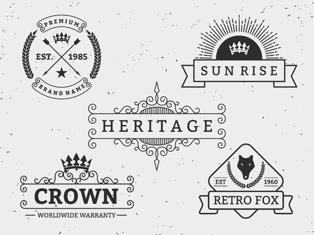 retro sunrise: Set of different retro badge design. For logo, label, emblem, banner, sticker, Insignia  Vintage Decorative Flourishes Calligraphic Line Art
