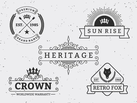 logo: Thiết lập khác nhau thiết kế huy hiệu retro. Đối với logo, nhãn hiệu, biểu tượng, biểu ngữ, nhãn dán, Insignia Vintage trang trí khởi sắc Calligraphic Dòng Nghệ thuật