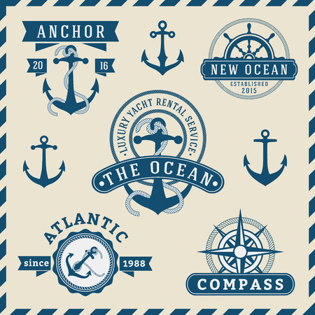 Nautical, Navigational, Seafaring and Marine insignia logotype vintage design with anchor, rope, steering wheel, compass  Only Free Font Used, Vector illustration