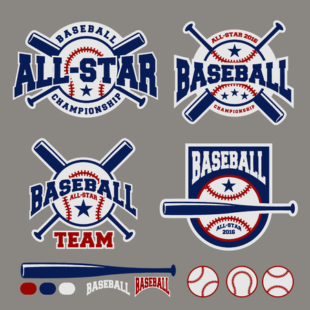 at bat: Set of baseball sport badge logo design template and some elements For logos, badge, banner, emblem, label, insignia, T-shirt screen and printing Illustration