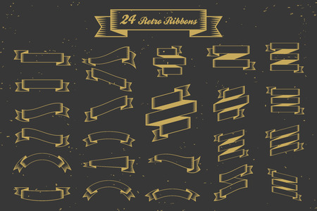 with sets of elements: 24 Retro ribbons banner elements, straight ribbons, curve ribbons, twist ribbons decoration sets, Vintage ribbons element  Vector illustration
