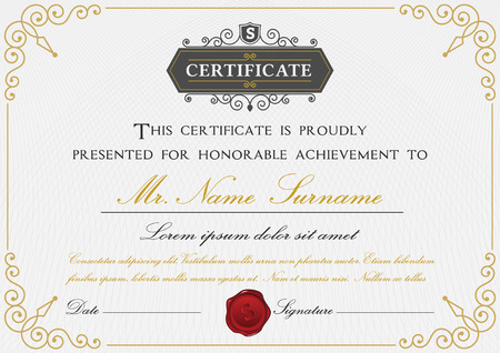 sealing wax: Elegant certificate template design with border, sealing wax and emblem on white background  A4 size Bleed Illustration