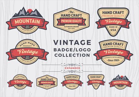 insignias: Conjunto de dise�o badgelogo vintage, dise�o retro insignia para la insignia, bandera, etiqueta, emblema, elemento label
