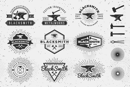 Modern Vintage Blacksmith and Metalworks Badge Logo