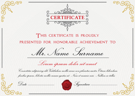 bleed: Certificate template design with emblem, flourish border on white background  A4 size Bleed