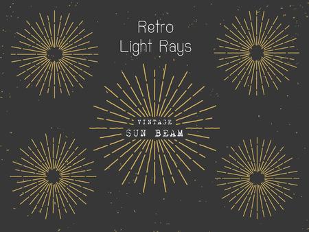 Set of retro light rays background for vintage logo banner design. Vintage sunbeam collection