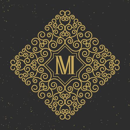 initials: Monogram initials design element with copy space in center, Vector illustration