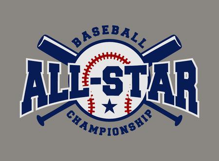 야구 스포츠 배지 로고 디자인 템플릿 및 로고, 배지, 배너, 상징, 레이블, 휘장, T 셔츠 스크린 인쇄의 일부 요소 일러스트