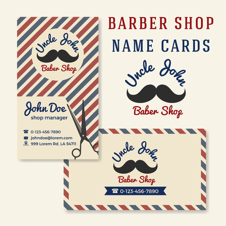 shop: Vintage Barber Shop Business Name Card Template. Illustration