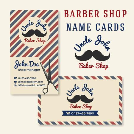 barber shop: Vintage Barber Shop Business Name Card Template. Illustration