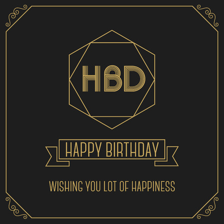 birth day: Happy birth day monochrome minimal greeting card design template Illustration