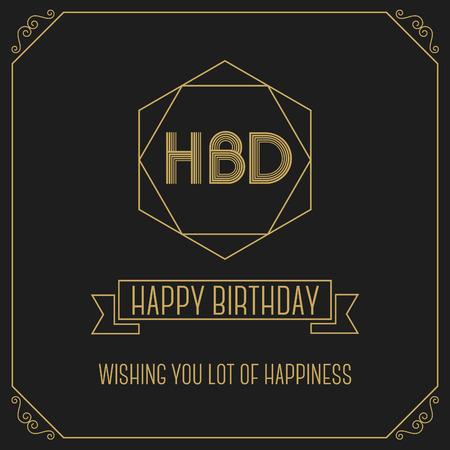 happy birth day: Happy birth day monochrome minimal greeting card design template Illustration