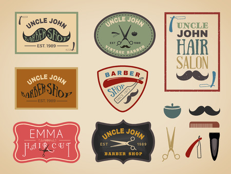 Vintage color tone barber shop logo, labels, badges, banner, emblem, insignia, poster and design element Çizim
