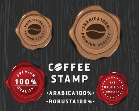 sello: Diseño de la bandera insignia de café con lacre y calidad premium texto, diseño de producto paquete de café o la promoción del café y la publicidad