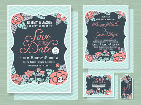 topical: Engagement invitation template with topical flower design in soft sea foam green color tone 5x7 inches size,Save the date card 5x7 inches size, respond card 5x4 inches and gift tags included Illustration