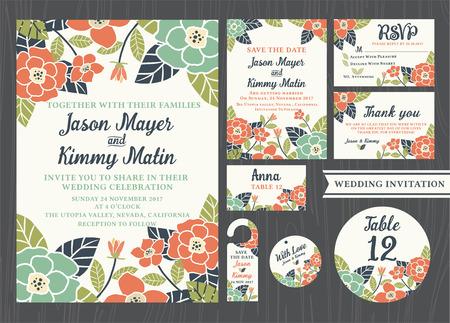 Convite do casamento conjuntos de design de flores tropicais do vintage incluem cartão de convite, salvar a data, cartão de RSVP, obrigado cartão, número da tabela, Tag do presente, cartões do lugar, cartão Respond, Salve o gancho de porta data Ilustração
