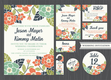 Tropical flower wedding invitation vintage design sets include Invitation card, Save the date, RSVP card, Thank you card, Table number, Gift tags, Place cards, Respond card, Save the date door hanger 版權商用圖片 - 42817210
