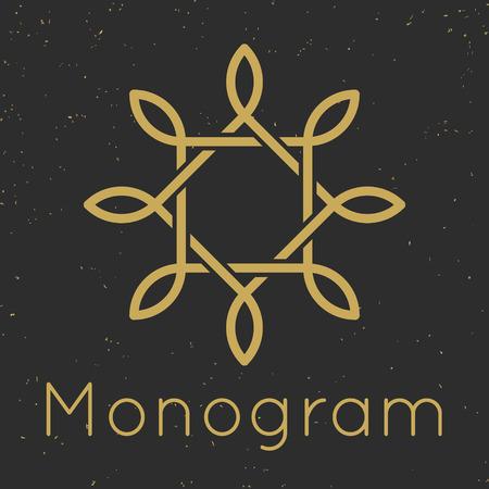 Minimal graceful monogram design templates, Rectangle and leave monogram. Letter logo frame vector illustration Illustration