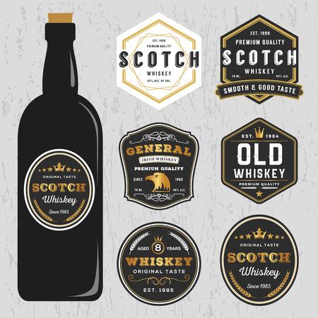 botella de whisky: Vintage premium de whisky marcas Etiqueta plantilla de diseño, cambiar el tamaño de la fuente capaz y libre usado. Vectores