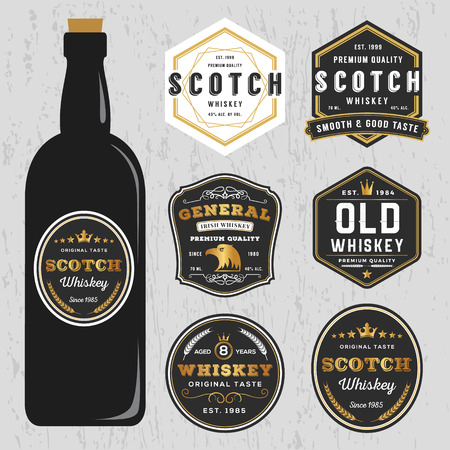 beer bottle: Vintage Premium Whiskey Brands Label Design Template, Resize able and free font used. Illustration