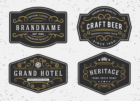 ラベル、バナー、ロゴ、エンブレム、メニューのステッカーおよび他のデザインのヴィンテージ装飾が蔓延する書道の書道のフレーム デザインを繁