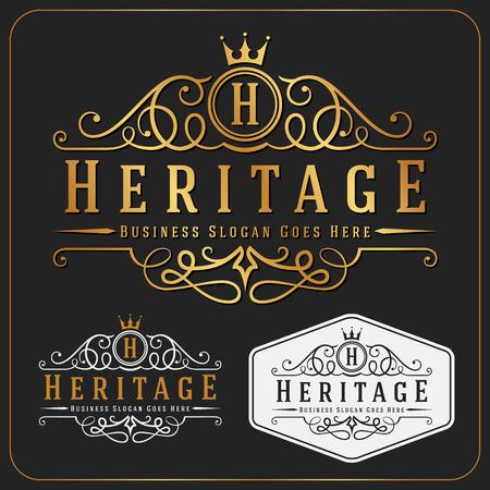 corona real: Lujoso Logo Royal Vector Re-considerable plantilla de diseño adecuados para las empresas y nombres de productos, la industria de lujo como el hotel, la boda, el restaurante y el sector inmobiliario.