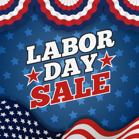 holiday celebrations: Labor day sale promotion advertising banner design. American labor day wallpaper  Vector illustration Illustration